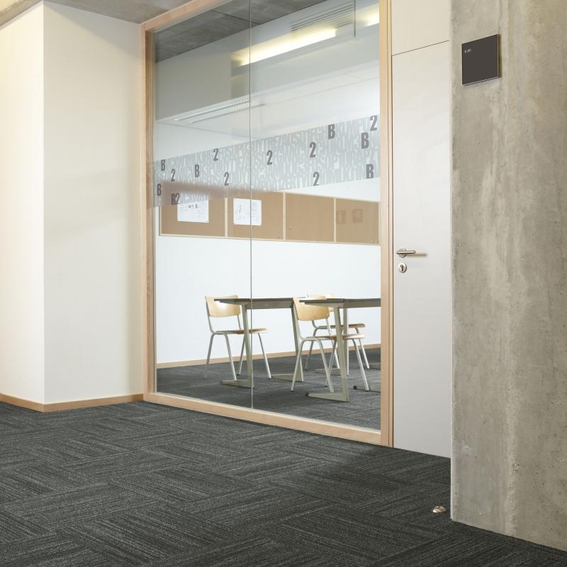 In-groove carpet tiles