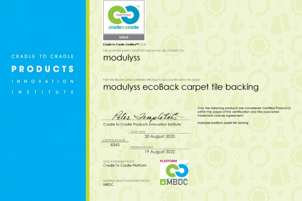 modulyss ecoBack_C2C Gold certificate
